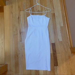 EXPRESS white body con with front slit dress